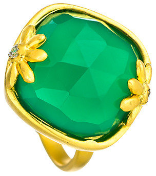 Indulgems Cushion Cut Green Onyx CZ and Gold Ring