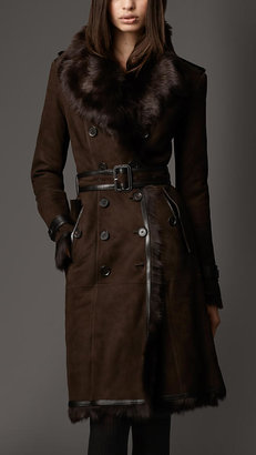 Burberry Long Shearling Trench Coat