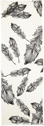 Neiman Marcus Feather-Print Merino Wool Scarf, White/Black