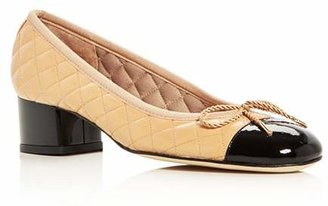 Paul Mayer Women's Titou Quilted Leather Cap Toe Block Heel Pumps