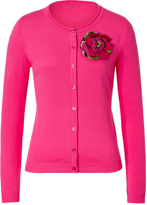 Moschino Cheap & Chic Hot Pink Cotton Cardigan with Flower Brooch
