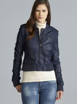 Members Only Three Pocket Navy Faux Leather Jacket