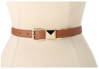 MICHAEL Michael Kors Michael Kors Pyramid Stud Reversible Saffiano To Metallic (Luggage) Women's Belts