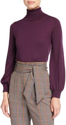 Neiman Marcus Superfine Balloon-Sleeve Turtleneck Sweater