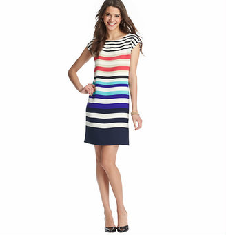 LOFT Tall Striped Crepe Cap Sleeve Dress