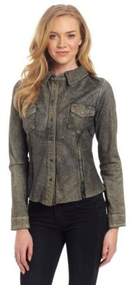 Doma Women's Leather Shirt With Snaps