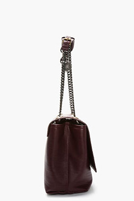 Lanvin Burgundy Leather Chain-Strap Happy Shoulder Bag