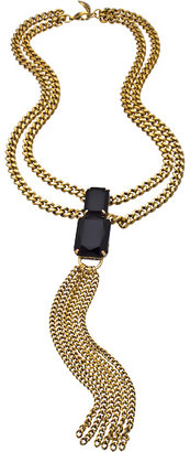 Yochi Gold and Black Double Stone Tassel Necklace