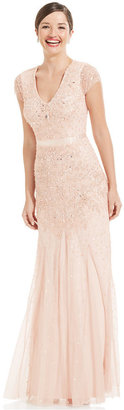 Adrianna Papell Cap-Sleeve Embellished Gown $299 thestylecure.com