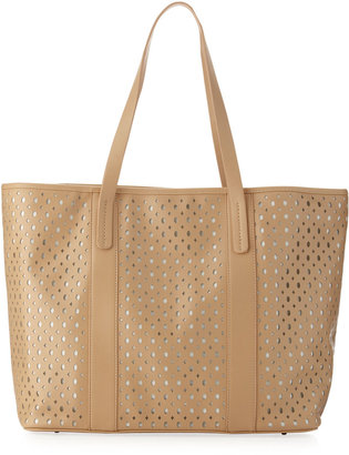 Neiman Marcus Perforated Tote Bag, Taupe