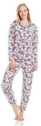 Hello Kitty Junior's Comfy N' Cozy White Pink Bow Print Notch Collar Pajama Set