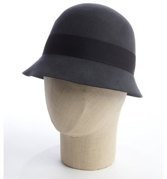 San Diego Hat Company charcoal wool felt bow banded cloche