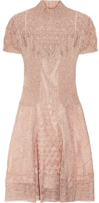 Philosophy di Alberta Ferretti Metallic pointelle-knit dress