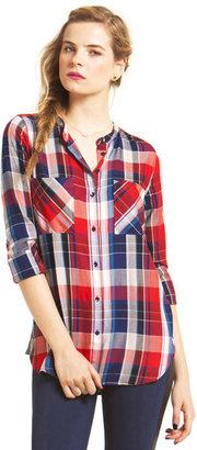 C&C California Rayon plaid two pocket shirt