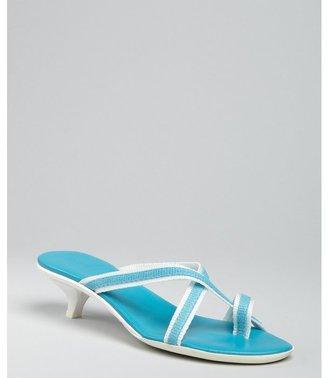 Hogan blue and white nylon strappy sandals