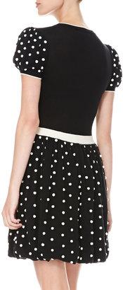 RED Valentino Polka Dot Bubble-Skirt Dress