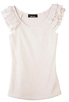 Amy Byer Girls' 7-16 White Ruffle Sleeve Top