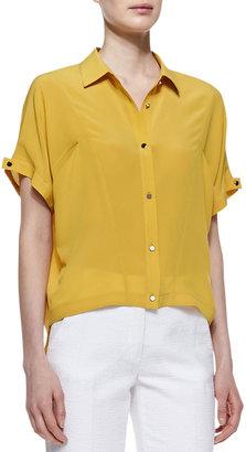Robert Rodriguez Silk Boxy Button-Down Shirt