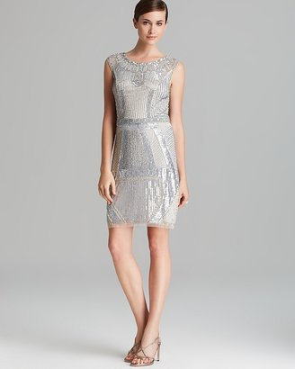 Aidan Mattox Sheath Dress - Sleeveless Deco Beaded