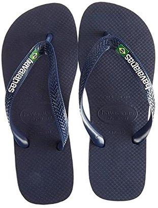Havaianas Brasil Logo Unisex Flip Flops (Navy Blue) Women's Sandals