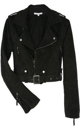 Maje Anthracite Gill Cropped Suede Biker Jacket