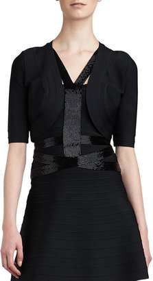 Herve Leger Bandage-Trim Shrug, Black