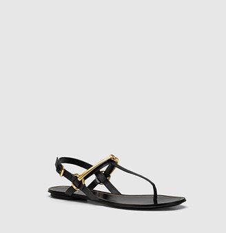 Gucci Tess Leather Horsebit Thong Sandal