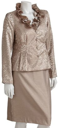 Isabella Collection giraffe-print suit jacket & skirt set