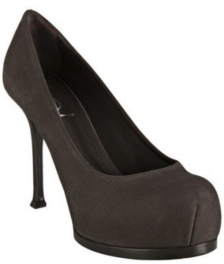 Yves Saint Laurent brown lizard print nubuck 'Tribute' platform pumps