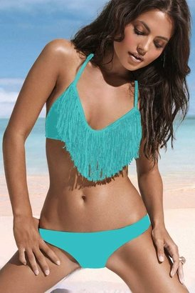 L-Space Swimwear Audrey Triangle Fringe Top in Tiffany