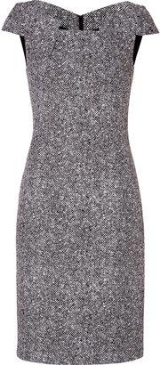 Michael Kors Wool Cap Sleeve Dress in Black/White