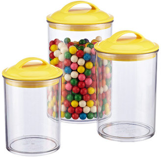 Container Store Color Pop Acrylic Canisters with Yellow Lids