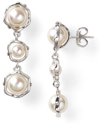 Majorica White Round Man-Made Pearl Linear Earrings