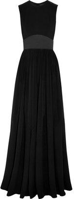 Elie Saab Satin-paneled crepe and silk-georgette gown