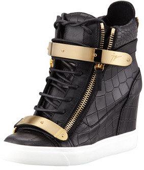 Giuseppe Zanotti Croc-Embossed Metal-Strap Wedge Sneaker, Black