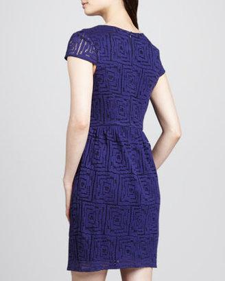 Shoshanna Geometric-Lace Cap-Sleeve Dress