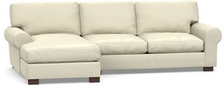Pottery Barn Turner Roll Arm Leather Sofa With Chaise Sectional