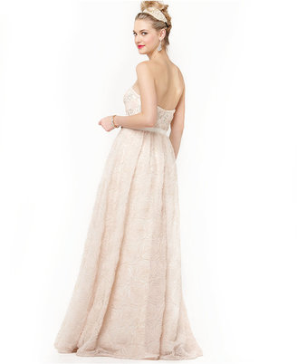 Adrianna Papell Strapless Beaded Soutache Gown