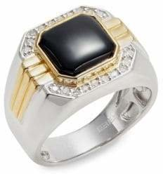 Effy 0.2 TCW Diamond, Sterling Silver, 14K Gold, Onyx Cocktail Ring