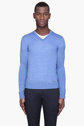 DSquared DSQUARED2 Blue Solid knit V-Neck sweater
