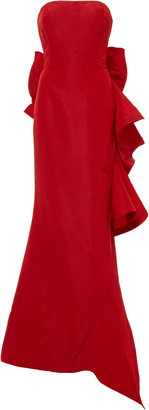 Oscar de la Renta Strapless Ruffle-Back Silk Gown