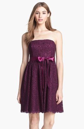 Adrianna Papell Strapless Lace Fit & Flare Dress