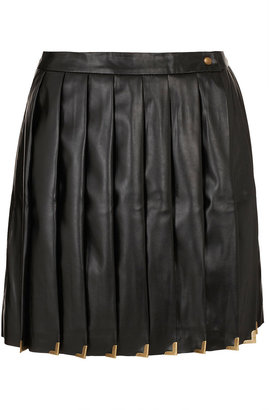 Topshop Premium Black Pleat Kilt Skirt