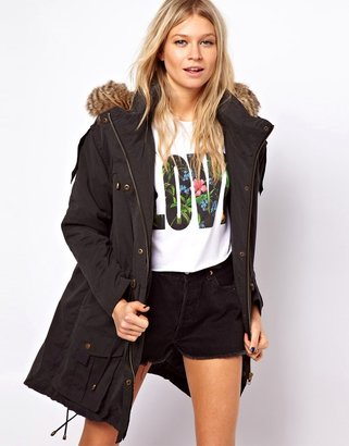 Asos Casual Parka with Faux Fur Hood and Quilted Lining