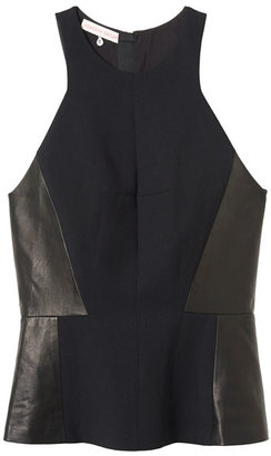 Rebecca Taylor Halter Neck Top with Leather Detail