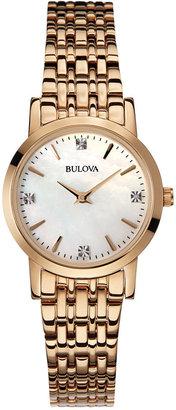 Bulova Women's Rose Gold-Tone Stainless Steel Bracelet Watch 27mm 97P106 $299 thestylecure.com