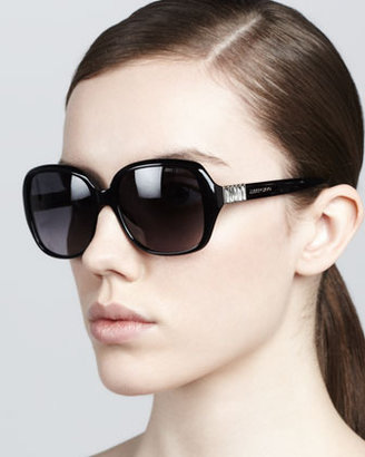 Jimmy Choo Lia Rounded-Square Sunglasses, Black