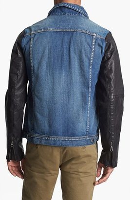 Scotch & Soda Denim Jacket with Leather Sleeves