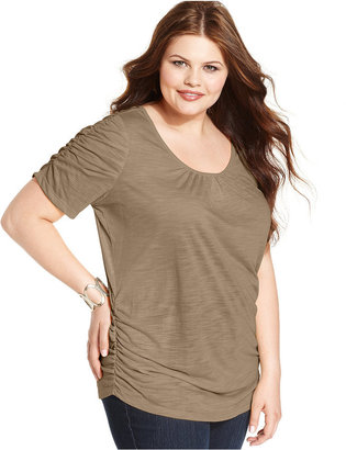 Style&Co. Plus Size Short-Sleeve Ruched Top
