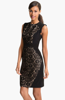 Adrianna Papell Lace Inset Crepe Sheath Dress